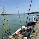 Sommer Spass in Serravalle Italien im Fishing Camp am Steg