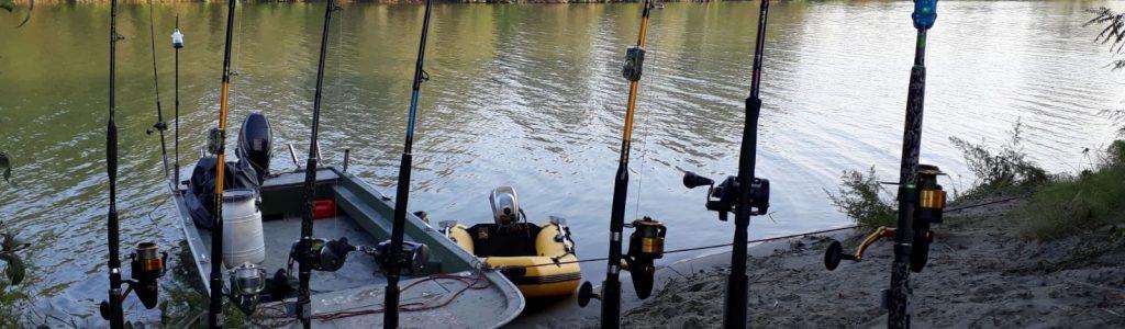 Angeln auf Waller am Fluss Po in Italien