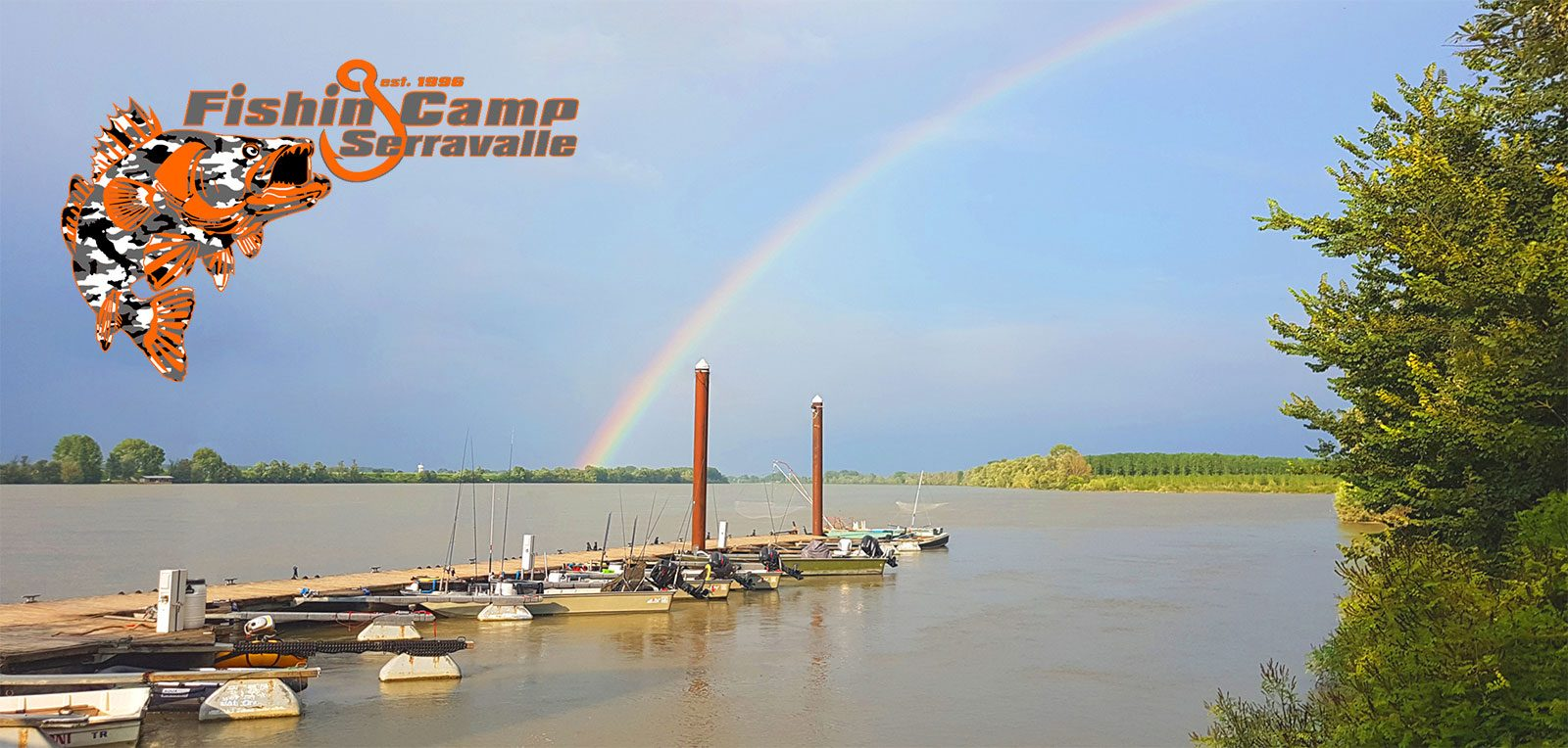 view of the jetty in fishing camp serravalle italien as header of the home page